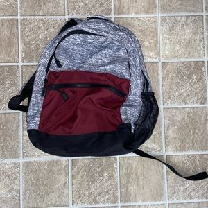 Grey and Maroon Backpack